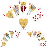 Royal Flush Hearts poker winning combination Mafia. Royal Flush Hearts poker winning combination three color variations of characters Mafia card set Royalty Free Stock Image