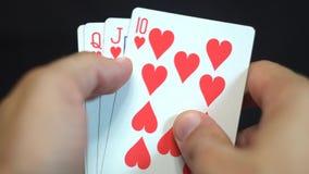 Royal Flush Hearts stock video