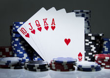 Royal Flush Hearts Stock Image