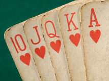 Royal flush hearts suit old cards. Royalty Free Stock Images