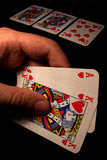 Royal Flush with hearts in Texas Holdem Royalty Free Stock Photo