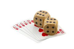 Royal Flush in Hearts with Two Wooden Dice Stock Photography