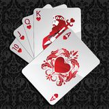 Royal flush in hearts Stock Photos