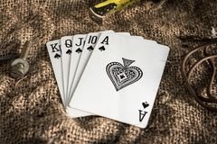 Royal Flush. The highest royal flush with an upside down spade Royalty Free Stock Image