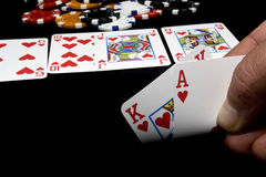 Royal flush, hold-em won Royalty Free Stock Photography