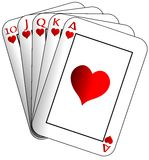 Royal flush isolated. Image representing a royal flush made with hearts cards royalty free illustration