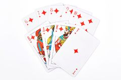 Free Royal Flush In Diamonds, White Background. Royalty Free Stock Photography - 103271907