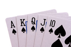 Royal flush isolated. Royal flush in poker isolated on white background royalty free stock photography