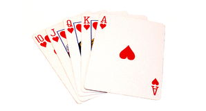 Royal Flush. Isolated photo of the highest hand in poker Stock Photos