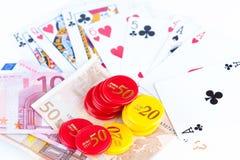 Royal Flush,money and gambling chips Stock Photos