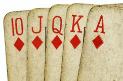 Royal flush old poker cards close up. Stock Image