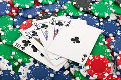 Royal Flush over Poker Chips Royalty Free Stock Images