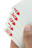 Royal flush playing cards in hand. Stock Image