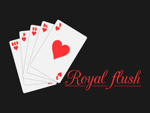 Royal flush playing cards, hearts suit. Poker. Vector. Royalty Free Stock Photography