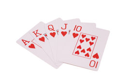 Royal flush playing cards isolated on white royalty free stock photography