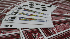 Royal Flush. Playing cards spread out with Royal Flush in spades Royalty Free Stock Photos