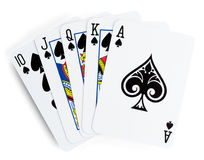 Royal flush playing cards. On white background Royalty Free Stock Photography