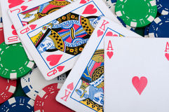 Royal flush in poker Stock Image