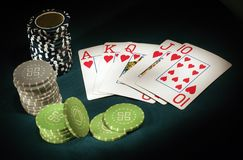 Royal Flush poker. Sports abstract backgrounds black Royalty Free Stock Photography