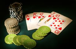 Royal Flush poker. Sports abstract backgrounds black Stock Images