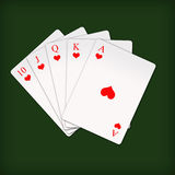 Royal flush in poker card game Royalty Free Stock Photo