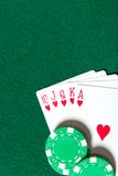 Royal Flush poker card sequence near chips Royalty Free Stock Photo
