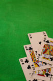 Royal flush poker cards combination on blurred background casino game fortune luck. Royal flush poker cards combination Royalty Free Stock Photography
