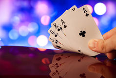 Royal flush poker cards combination on blurred background casino luck fortune. Royal flush poker cards combination  casino luck fortune Stock Image