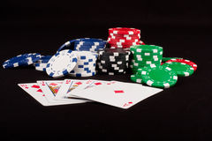 Royal Flush and Poker Chips Stock Image
