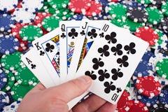 Royal Flush and Poker Chips Royalty Free Stock Photo
