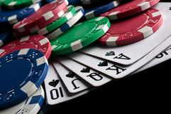 Royal flush and poker chips Royalty Free Stock Image