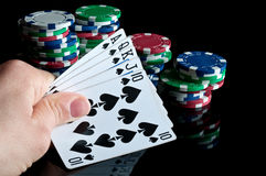 Royal flush and poker chips Royalty Free Stock Photos