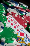 Royal flush and poker chips Stock Photos