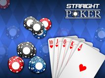 Royal flush and poker chips on a blue background Royalty Free Stock Photos