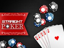 Royal flush with poker chips and labels on a black background. Illustration of Royal flush with poker chips and labels on a black background vector illustration