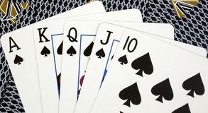 Royal Flush poker hand. On a card background Stock Photo