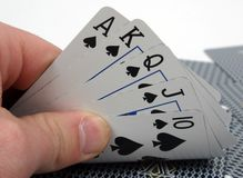 Royal Flush poker hand Stock Photos