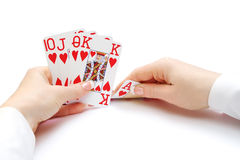Royal flush poker hand Stock Images