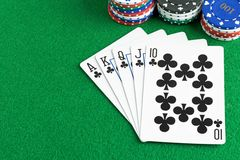 A royal flush poker hand Royalty Free Stock Photos