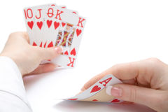 Royal flush poker hand, focus on ace Royalty Free Stock Image
