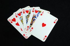Royal flush poker hand. Stock Photo