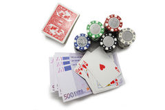 Royal flush poker hand with poker chips Royalty Free Stock Photography