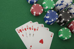 Royal Flush with red hearts Royalty Free Stock Image