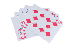 Royal flush red isolatd. Red, black and blue poker chips Stock Photo