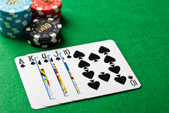 Royal flush or royal straight flush Stock Photo