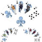 Royal Flush schlägt gewinnende Mafia Kombination des Pokers mit einer Keule Stockfotos