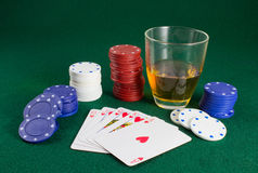 Royal Flush and a Shot Royalty Free Stock Image