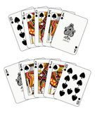 Royal Flush Spade. In two different arrangements Royalty Free Stock Photo