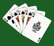 Royal flush spade on green. Playing cards: royal flush spade on green background Royalty Free Stock Photography