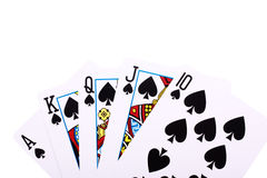 Royal flush of spades Stock Photos